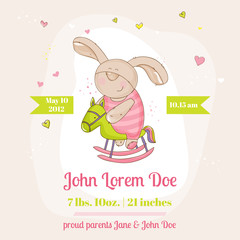 Baby Bunny on a Horse - Baby Shower or Arrival Card - in vector