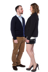 Tall woman confronting a shorter man