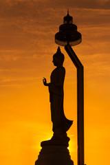 Silhouette of standing Buddha statue