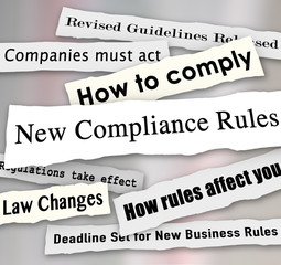 Fototapete - Compliance Headlines Newspaper Torn New Business Regulations Com