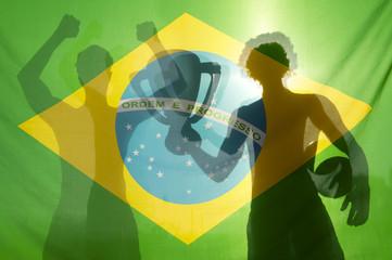 Champion Winning Football Players Brazilian Flag