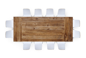 Large Wooden Table with Twelve Chairs