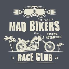 Vintage Motorcycle label or poster, vector illustration