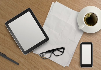 3d empty tablet with mobile phone and a cup of coffee on the woo