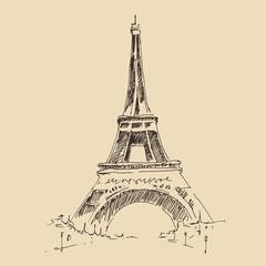 Eiffel Tower, Paris architecture, engraved illustration