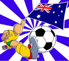 Australia soccer player vector cartoon