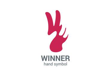 V letter hand victory symbol vector logo design