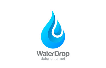 Waterdrop vector logo design. Clear Water dropplet