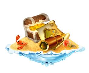 Treasure island, vector illustration