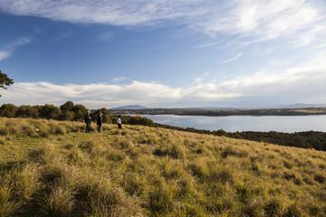 View over the lake Coila towards Tuross Head. Bingie. Nsw. Austr