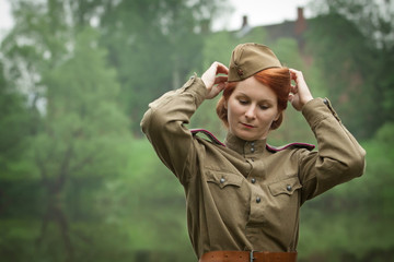 Young woman in Red Army form