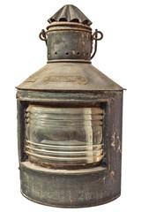 Large vintage storm lantern isolated on white