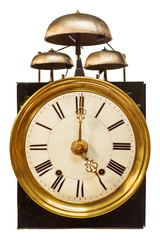 Vintage clock with three bells isolated on white