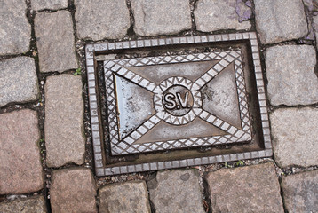 Sewer manhole in Stockholm, Sweden