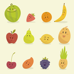funny cartoon fruits vector illustration, flat style