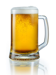 Mug of light beer isolated on white background. With clipping pa