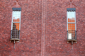 Windows of the building of a City Hall, Stockholm, Sweden