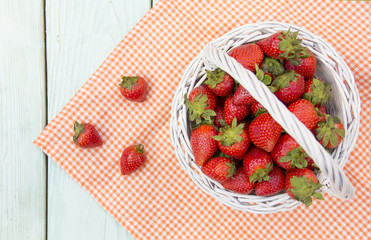 strawberries in a basket on the table