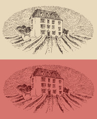 province, wine label design, architecture, engraved illustration