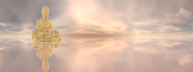 Golden buddha, 360 degrees effect - 3D render