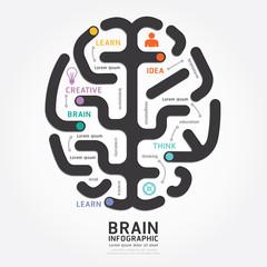 infographics vector brain design diagram line style template