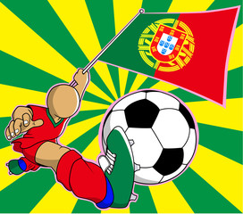Portugal  soccer player vector cartoon