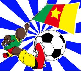 Cameroon  soccer player vector cartoon