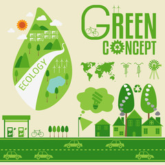 Ecology Infographic and green concept