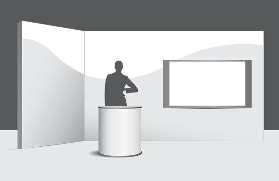 Stand con help desk, wall, hostess e monitor