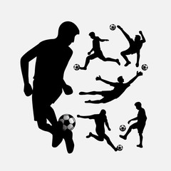 Soccer player action silhouettes set
