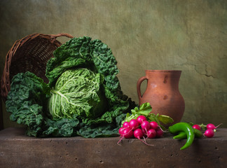 Still life with vegetables: cabbage; radish and pepper