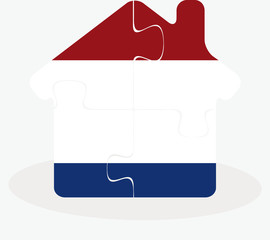 house home icon with Netherlands flag in puzzle