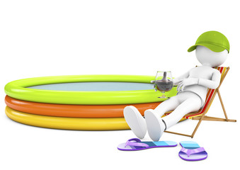 3d white person sunbathing on a lounger with a refreshing drink.