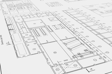 Flat architectural drawing and plan