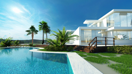 Luxury house with a tropical garden and pool