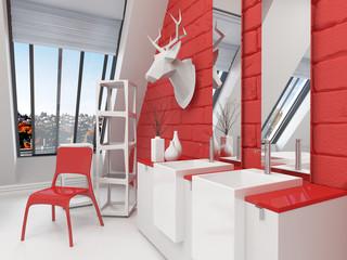 Modernes Design Badezimmer in starker roter Farbe
