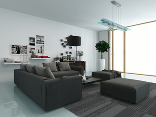 Modern living room with an upholstered suite