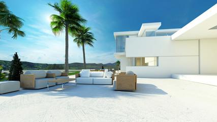 Outdoor living area in a modern tropical villa