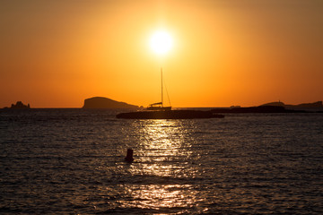 Sunset at the beach (cala conta),Ibiza,Spain