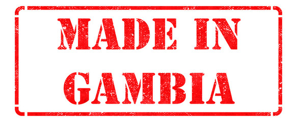 Made in Gambia - inscription on Red Rubber Stamp.