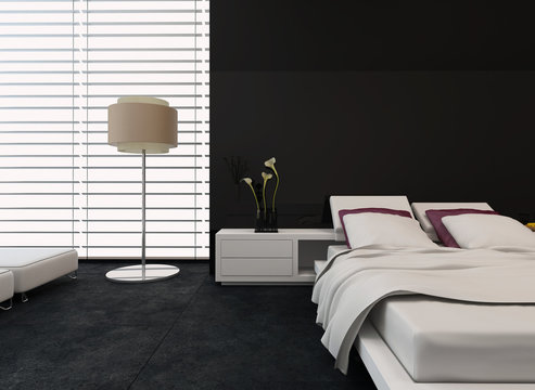 Modern bedroom with black and white decor