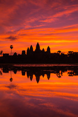 beautiful silhouette of Angkor Wat during sunrise, Cambodia