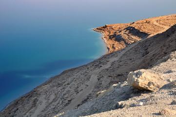 Wild coast of the dead sea. Israel.