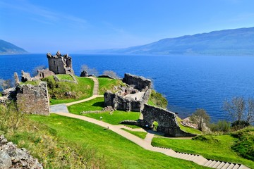 Ruins of Urquhart Castle along Loch Ness, Scotland