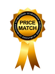 Price Match Guarantee Gold Label Sign Template Vector Illustrati