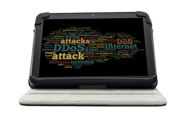 DDOS word cloud concept on electronic tablet screen on stand