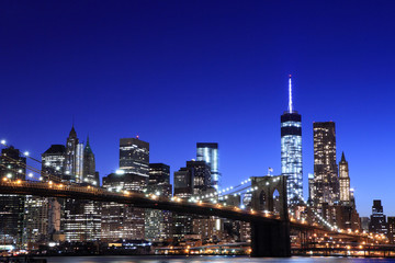 Brooklyn Bridge and Manhattan Skyline , New York City