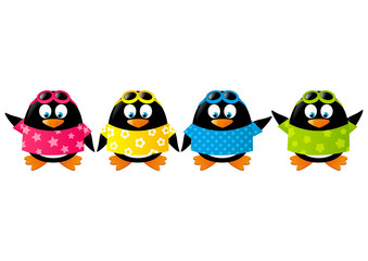 Cute penguins wearing color shirts