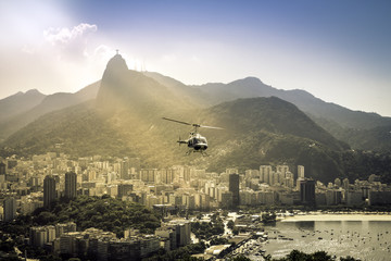 Helicopter flying above Rio de Janeiro Brazil.