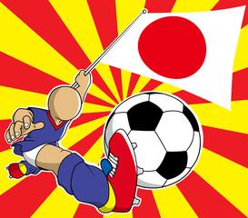 Japan soccer player vector cartoon